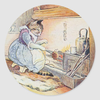 Pussy Cat Sits By the Fire Round Sticker