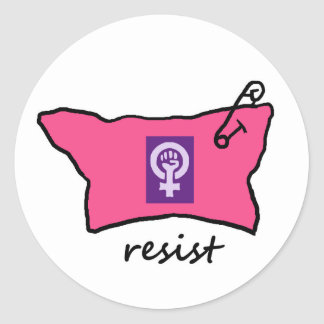 Pussy Hat Resist stickers with women's power sign