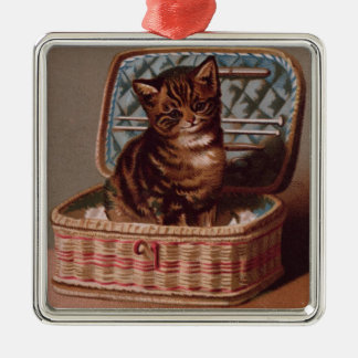 Pussy in the Workbasket Christmas Ornaments