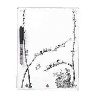 Pussy Willow Kittens and Mother Cat Dry Erase Board
