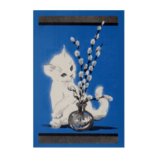 pussycat and pussywillow acrylic wall art