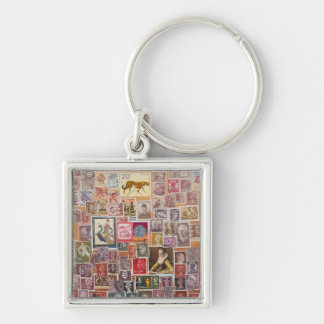 Put a Stamp on it! Silver-Colored Square Key Ring