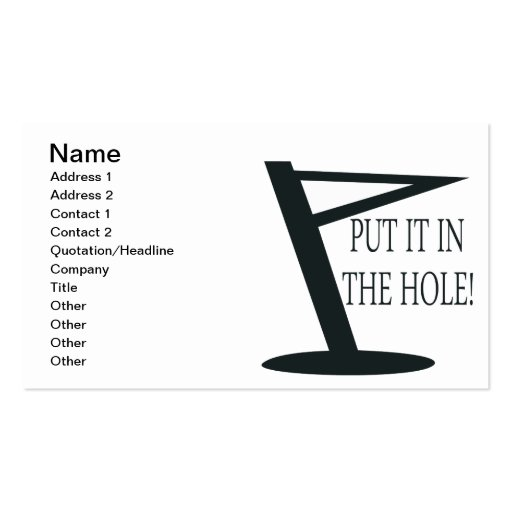 Put It In The Hole Business Card
