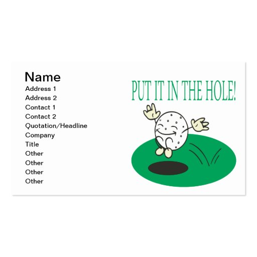 Put It In The Hole Business Card Templates