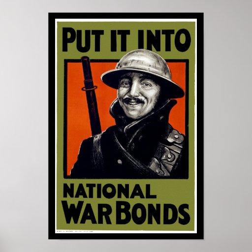 Put It Into National War Bonds Poster