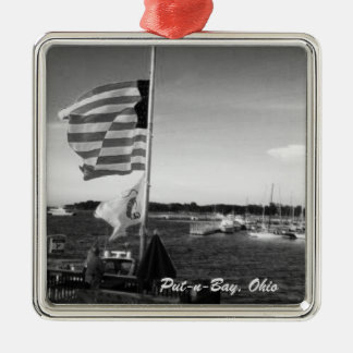 Put-n-Bay, Ohio American Flag Boat Ornament