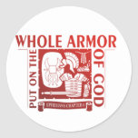 PUT ON THE WHOLE ARMOR OF GOD ROUND STICKERS
