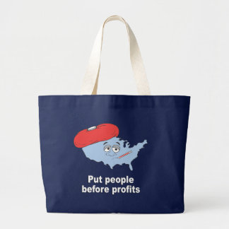 Put people before profits tote bags