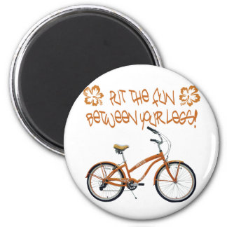 Put the FUN between your legs - Orange 6 Cm Round Magnet