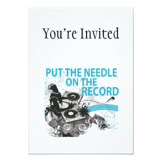 Put The Needle On The Record DJ Spinning 13 Cm X 18 Cm Invitation Card