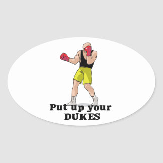 put up your dukes boxer oval sticker