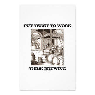 Put Yeast To Work Think Brewing (Brewer Woodcut) Personalized Stationery