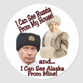 Putin and Palin Round Sticker