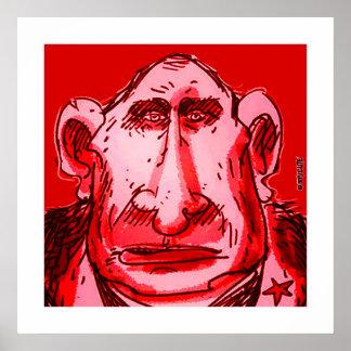 putin caricature red tint poster