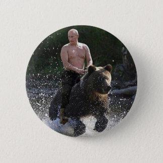 Putin rides a bear! 6 cm round badge