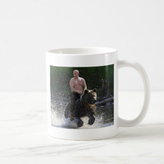 Putin rides a bear! basic white mug
