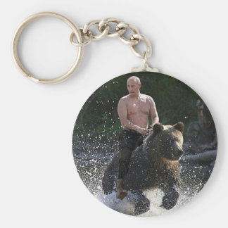 Putin rides a bear! key ring