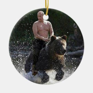 Putin rides a bear! round ceramic decoration