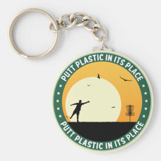 Putt Plastic In Its Place Basic Round Button Key Ring