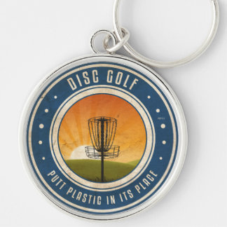 Putt Plastic In Its Place Silver-Colored Round Key Ring
