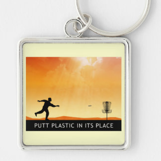 Putt Plastic In Its Place Silver-Colored Square Key Ring