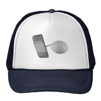 Putter and Golf Ball Mesh Hat