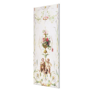 Putti amid swags of flowers and leaves stretched canvas print