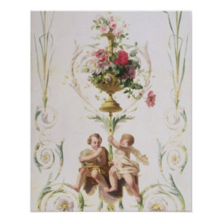 Putti amid swags of flowers and leaves poster