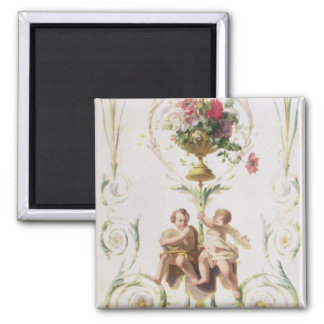 Putti amid swags of flowers and leaves square magnet
