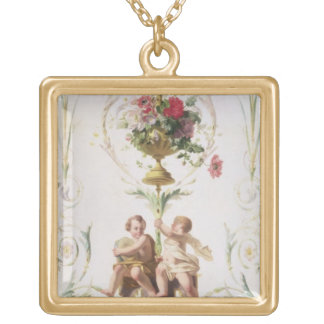 Putti amid swags of flowers and leaves square pendant necklace