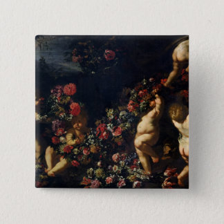 Putti Playing with Garlands of Flowers 15 Cm Square Badge