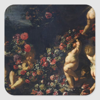 Putti Playing with Garlands of Flowers Square Sticker