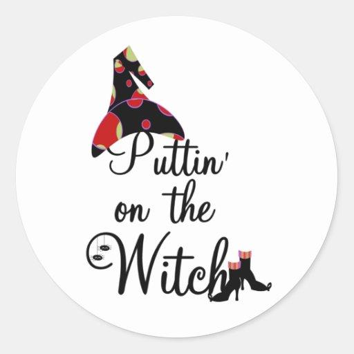Puttin' on the Witch Round Sticker