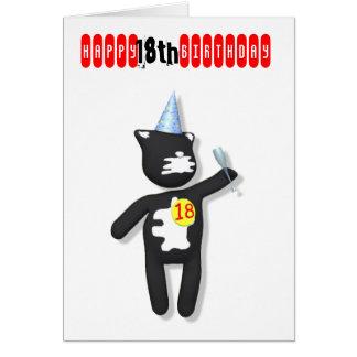 putty cat 18th birthday greeting card