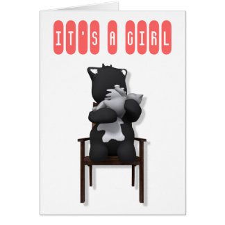 putty cat girl IT S A GIRL Card