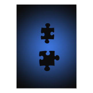 Puzzle649 PUZZLE PIECES BLACKS BLUES DIGITAL WALL 13 Cm X 18 Cm Invitation Card