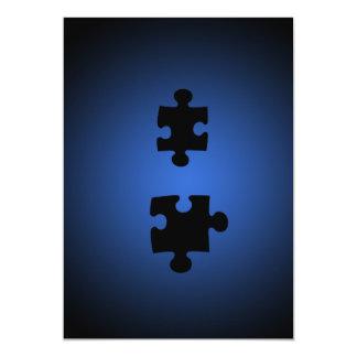 Puzzle649 PUZZLE PIECES BLACKS BLUES DIGITAL WALL Card