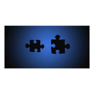 Puzzle649 PUZZLE PIECES BLACKS BLUES DIGITAL WALL Customized Photo Card