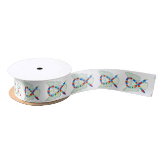 Puzzle Awareness Ribbon Angels Custom Design Satin Ribbon