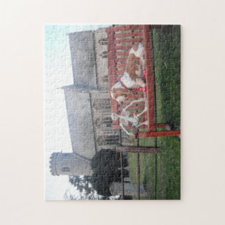Puzzle Basset Hound Church Visit