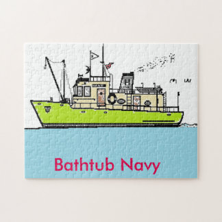 Puzzle, Bathtub Navy Jigsaw Puzzle