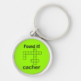 Puzzle Cacher Geocaching Found It Swag Custom Text Silver-Colored Round Key Ring