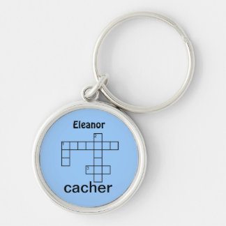 Puzzle Cacher Geocaching Swag or Add Your Name Silver-Colored Round Key Ring