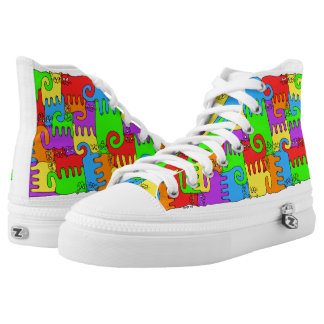 "Puzzle Cats ""Rainbow"" High Tops"