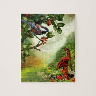 "Puzzle, ""Chickadee in a Sherry Tree"" Jigsaw Puzzle"