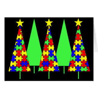 Puzzle Christmas Trees - Autism Awareness Card