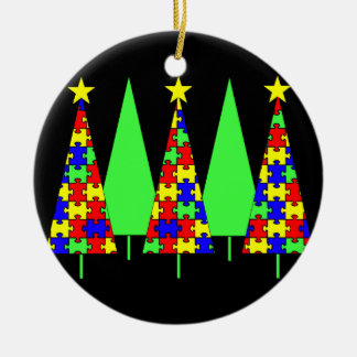 Puzzle Christmas Trees - Autism Awareness Christmas Ornament
