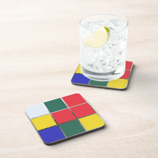 Puzzle Cube Gamer Primary Colors Colorful Red Blue Coasters