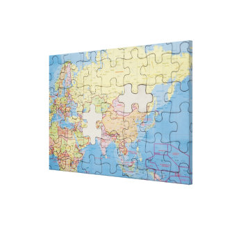 Puzzle Globe with two pieces missing Canvas Print