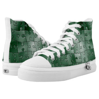 Puzzle green tiles printed shoes